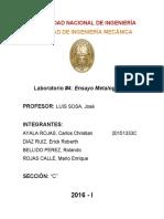 Informe final sobre experiencia de laboratorio de ensayos metalográficos.