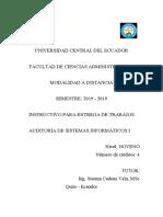 Guía de Tareas Auditoria de Sistemas I 2019-2019