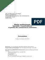 Brochure Master Conseil éditorial Paris-Sorbonne 2010-11
