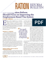 U.S. Immigration Reform Should Focus on Improving the Employment-Based Visa System, Cato Immigration Reform Bulletin No. 10