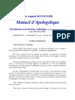 [Christianisme Catholicisme] Boulanger - Manuel d'apologétique catholique