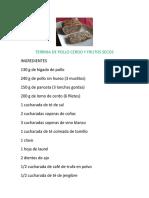 TERRINA DE POLLO CERDO Y FRUTOS SECOS