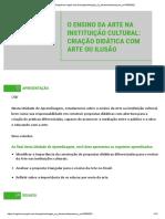 Unidade 1 - O ENSINO DA ARTE NA INSTITUIÇÃO CULTURAL - CRIAÇÃO DIDÁTICA COM ARTE OU ILUSÃO