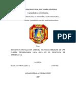 ESTUDIO DE INSTALACIONANIEVEL DE PREFACTIBILIDAD DEUNA PLANTA PROCESADORAPAPAS SECAS EN ELPROVENCIA DEANDAHUAYLAS (Autoguardado)