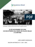 OS ESCOTEIROS NA VISITA DE OLAVO BILAC A CURITIBA