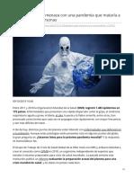2018 El patógeno  amenaza  pandemia  mataría a 80 mill personas
