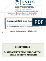 L'AUGMENTATION DU CAPITAL DE LA SOCIETE ANONYME