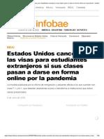 Estados Unidos cancelará las visas para estudiantes extranjeros si sus clases pasan a darse en forma online por la pandemia - Infobae