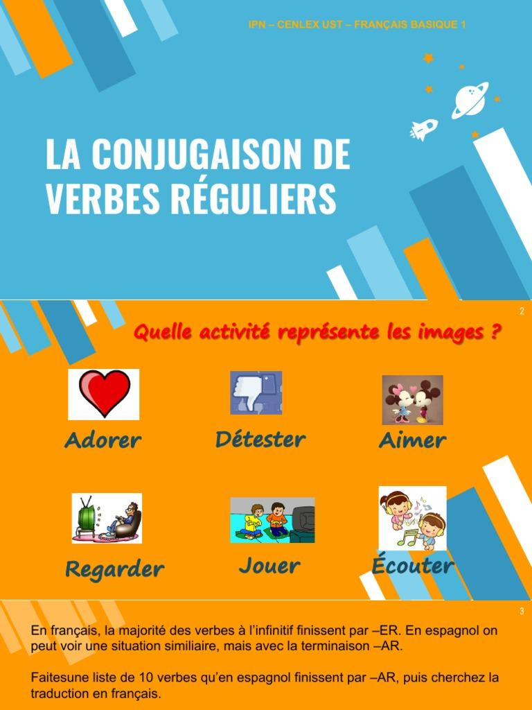 La Conjugaison De Verbes Reguliers Ipn Cenlex Ust Francais Basique 1 Verbe Sujet Grammaire