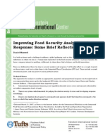Improving Food Security Analysis and Response--Some Brief Reflections