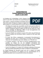 Communique Du Conseil National de Securite Du Jeudi 11 Juin 2020
