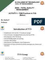 TQM Practices in TVS Motors - Activity 1