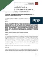 Una discusión disciplinaria y epistemológica de la geopolitica