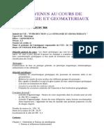 GEOS 308 COURS DE GITOLOGIE ET GEOMATERIAUX