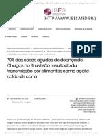 70%25 dos casos agudos de doença de Chagas no Brasil são resultado da transmissão por alimentos como açaí e caldo de cana - IBES