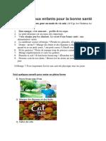 10 Conseils aux enfants pour la bonne santé