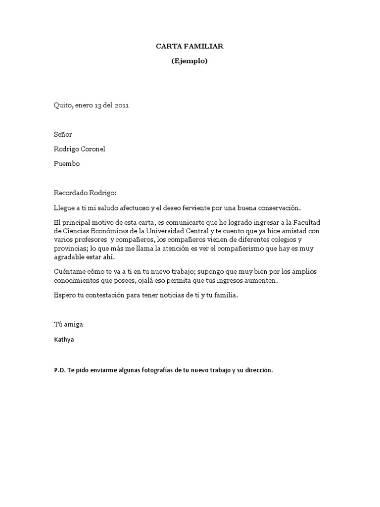 cartas de recomendacion familiar