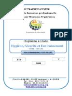 Programme Détude BTS HSE