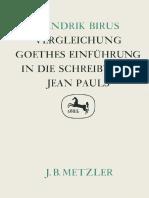 Hendrik Birus (auth.) - Vergleichung_ Goethes Einführung in die Schreibweise Jean Pauls-J.B. Metzler (1986)