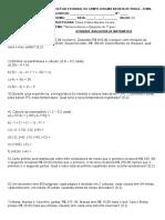 Avaliação sobre números inteiros e equações de 1° grau