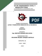 LEYES Y PRINCIPIOS BÁSICOS DE LA MECÁNICA
