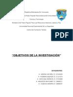 Trabajo Objetivos de la investigacion Tema 5