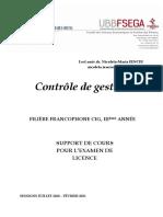 Support CONTROLE DE GESTION