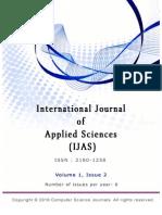 International Journal of Applied Sciences (IJAS),Volume (1)