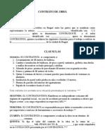 CONTRATO DE OBRA modelo