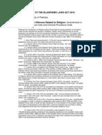 Amendments to the Blasphemy Laws Act 2010