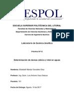 Informe 12 - Dureza cálcica y total - González, Elizabeth - Paralelo 101