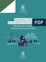 Victimation 2018 et preceptions de la securité