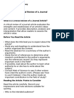 How to Write a Critical Review of a Journal Article  Queen's University Library