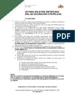 REQUISITOS PARA SOLICITAR CERTIFICADO INTERNACIONAL DE VACUNACIÓN O PROFILAXIA
