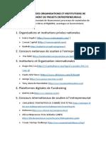 Repertoire Des Organisations Et Institutions de Financement de Projets Entrepreneurials