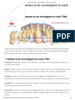 Gods and goddesses to be worshipped on each Tithi • Hari Ome