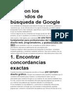 Qué son los comandos de búsqueda de Google