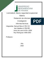 informes tecnicos salud y seguridad ocupacional