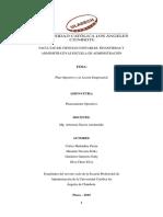 Plan Operativo y la Acción Empresarial