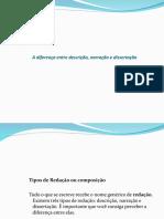 A diferença entre descrição, narração e dissertação.ppt