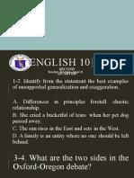 English 10 PRETEST 2nd Quarter