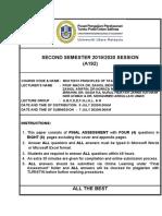 FINAL EXAM QUESTION A192 BKAT 2013