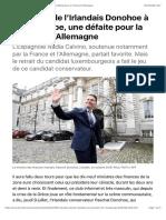 L'élection de l'Irlandais Donohoe à l'Eurogroupe, une défaite pour la France et l'Allemagne