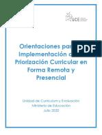 Orientaciones implementación Priorización Curricular en forma remota y presencial