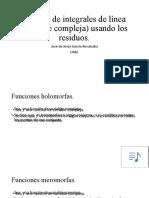 Cálculo de integrales (variable compleja)