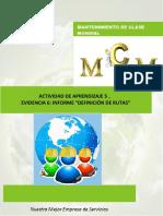 ACTIVIDAD DE APRENDIZAJE 5 EVIDENCIA 6 INFORME DEFINICIÓN DE RUTAS