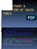 Recruitment Selection of Sales Force