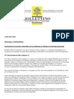 Boletín diario Vaticano 09 de Julio de 2020