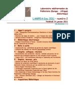 LAMPEA-Doc 2011 – numéro 2 / Vendredi 14 janvier 2011