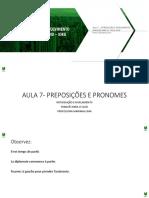 Introdução e Nivelamento - Francês - Quadro de aula 07 - Preposições e pronomes